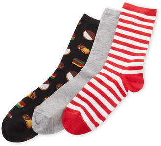 Hot Sox 3-Pack Cookies & Striped Crew Socks