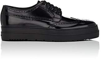Prada Men's Spazzolato Leather Wingtip Platform Bluchers