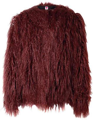 House of Fluff - Faux Fur Coat - Burgundy