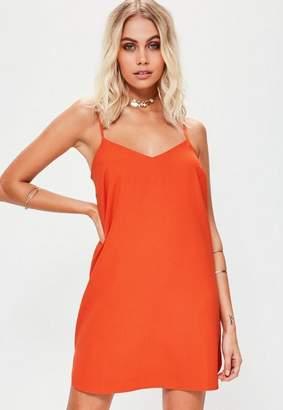 Missguided Orange Crepe Slip Dress