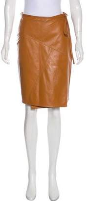 Tomas Maier Leather Knee-Length Skirt w/ Tags