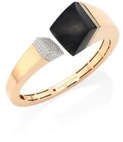 Roberto Coin Sauvage Prive Pave Diamond, Black Jade& 18K Rose Gold Bangle