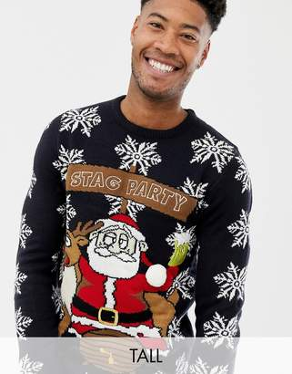 Brave Soul Tall Stag Party Holidays Sweater