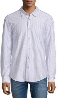 HUGO BOSS Dotted Stripe Cotton Button-Down Shirt