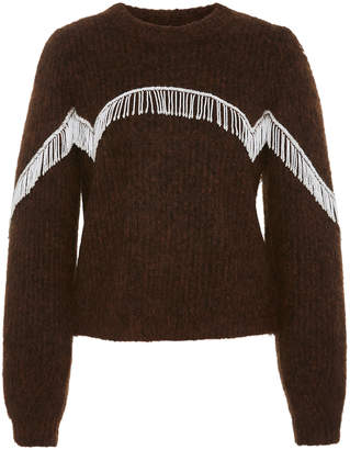 Ganni Beaded Fringed Cable-Knit Sweater