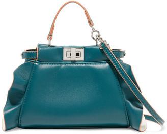 Fendi - Peekaboo Micro Ruffle-trimmed Leather Shoulder Bag - Petrol $1,650 thestylecure.com