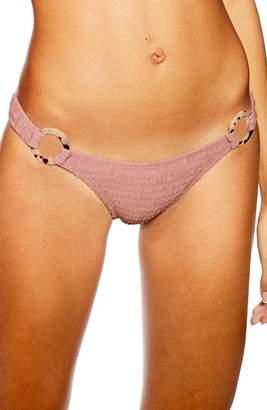 Topshop Tortoise Ring Smocked Bikini Bottoms