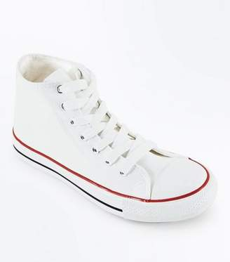 New Look White Canvas Stripe Sole High Top Trainers