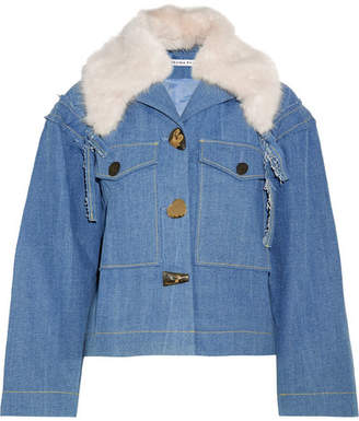 REJINA PYO - Daphne Faux Fur-trimmed Denim Jacket - Light denim