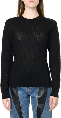 Fendi Black Jacquard Sweater In Mixed Cotton With Monogram