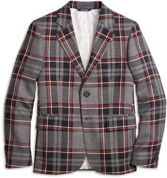 Brooks Brothers Boys Two-Button Plaid Wool Suit Jacket