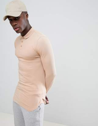 BEIGE Asos Design ASOS DESIGN longline muscle polo with bound curved hem in