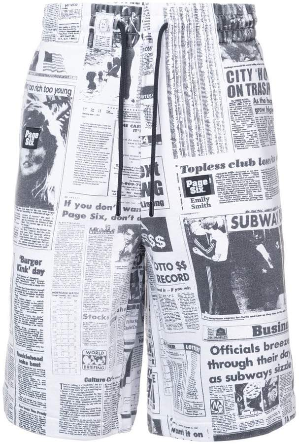 newspaper print shorts
