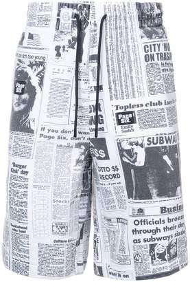Alexander Wang newspaper print shorts