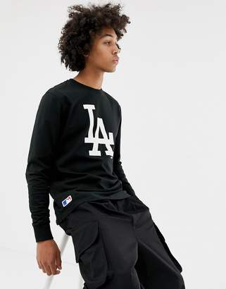 New Era MLB L.A Dodgers Long Sleeve T-Shirt With Chest Logo In Black