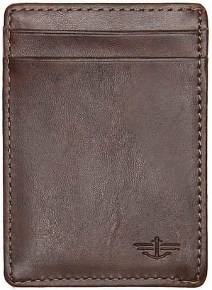 Dockers Wide Magnetic Front Leather Card Case Wallet - Men's