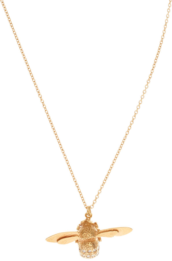 Alex Monroe 18ct Gold Plated Bumble Bee With Cubic Zirconia Pendant Necklace