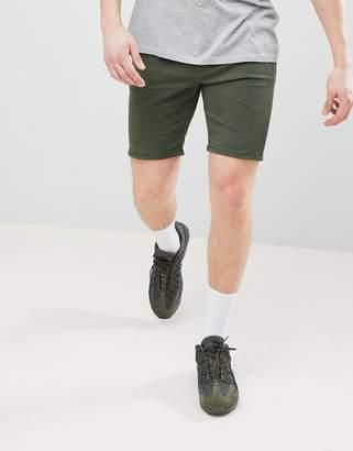 Asos DESIGN Denim Shorts In Skinny Green