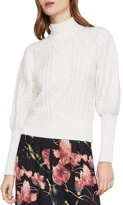 BCBGMAXAZRIA Bishop-Sleeve Cable-Knit Sweater
