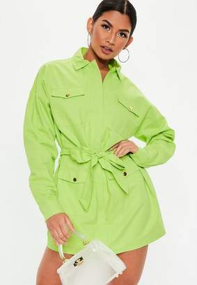 Missguided Lime Green Oversized Utility Belted Shift Dress