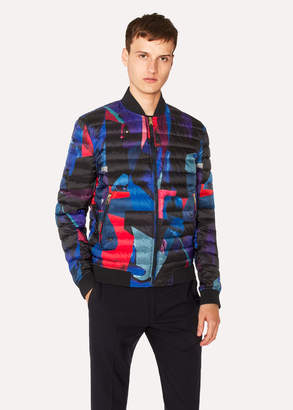 Paul Smith Men's 'Rose Collage' Print Down Bomber Jacket