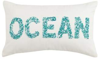"Peking Handicraft Ocean Beaded Pillow - 12"" x 20\"" - Blue/White"
