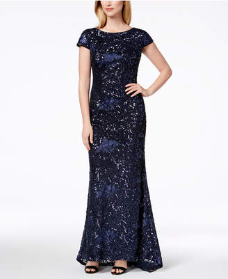 Calvin Klein Embroidered & Sequined Scoop-Back Gown