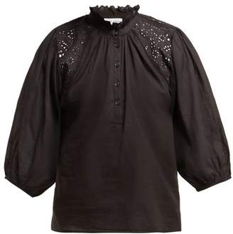 Apiece Apart Vera Ruffled Neck Cotton Blouse - Womens - Black