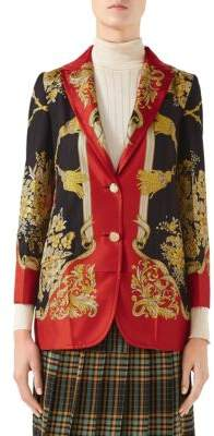 Gucci Women's Long Sleeve Silk Twill Print Jacket - Red Multi - Size 40 (4)