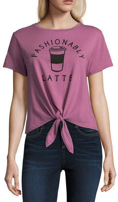 Fifth Sun Fashionably Latte Tie Front Tee - Junior