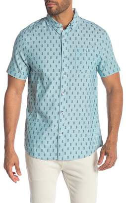 Report Collection Pineapple Print Short Sleeve Oxford Shirt