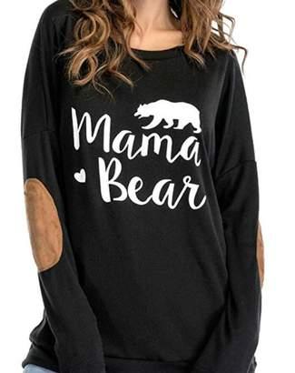 0dc964a304 DOKER Women s Mama Bear Letter Print Crew Neck Elbow Patch Long Sleeve T- Shirt M