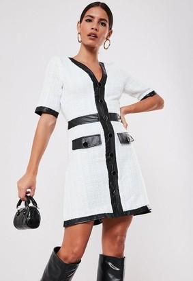 Missguided White Tweed A Line Mini Dress