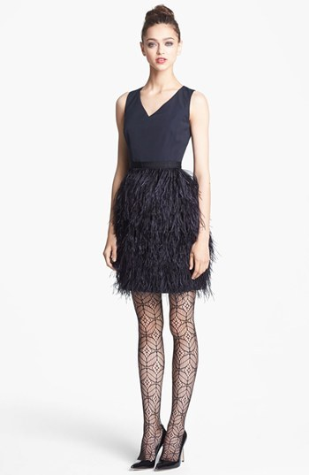 Nordstrom Miss Wu Feather Skirt Radiant Faille Dress Exclusive)