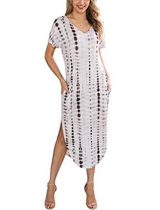 KIRUNDO Women Summer Casual Short Sleeves V Neck Two Pockets Tie Dye Split Loose Maxi Dress (
