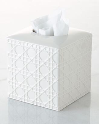 Kassatex Cane Embossed Porcelain Tissue Box Cover
