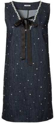 Miu Miu crystal-embellished denim dress