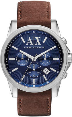 Armani Exchange Men's Chronograph Brown Leather Strap Watch 45mm AX2501