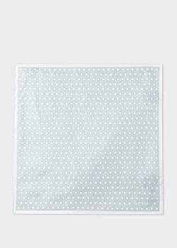 Men's Light Grey Polka Dot Silk Pocket Square