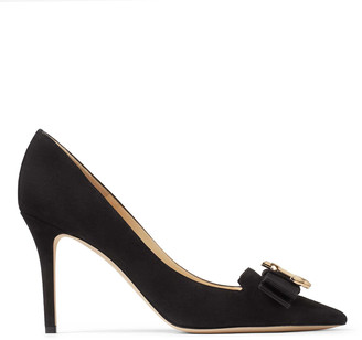 Jimmy Choo ARI 85/JC Black Suede Pointed Toe Pumps with JC Logo and Grosgrain Bow