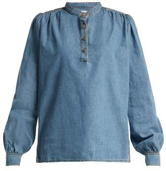 Ganni Half Button Denim Blouse - Womens - Blue
