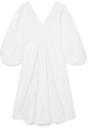Ganni Broderie Anglaise Cotton Midi Dress