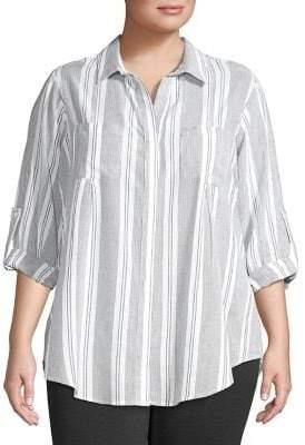 Lord & Taylor Plus Striped Cotton Button-Down Shirt