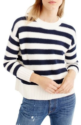 Women's J.crew Textured Stripe Cotton Sweater $69.50 thestylecure.com