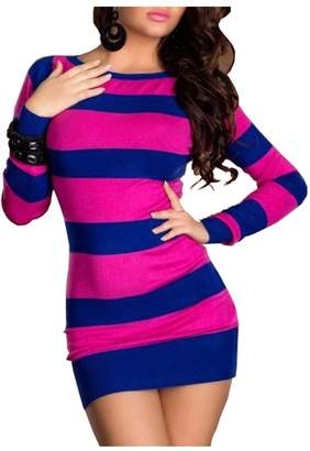 Herose Ladies Elegant Stripes Slim Fit Mini Dress Thigh Length Tshirt US0-8/One