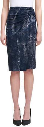 Dkny Crackle-Print Wrap Jersey Skirt