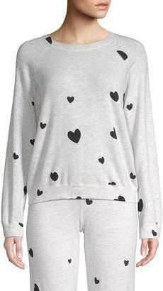 Monrow Raglan Sleeve Heart Pullover