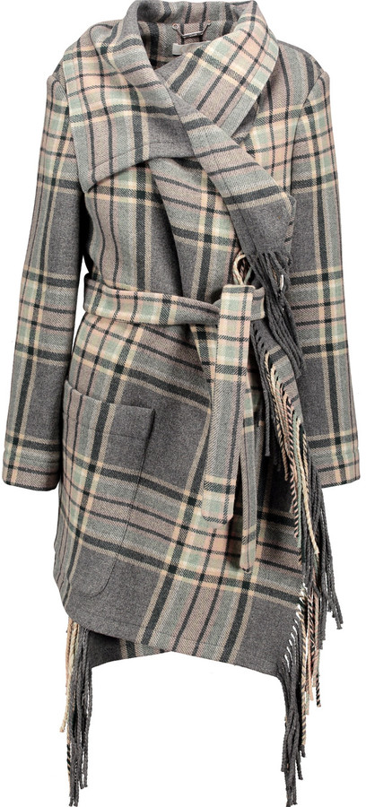 Chloé Chloé Fringed plaid wool-blend coat