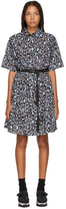 Kenzo Grey Leopard Belted Fit and Flare Dress