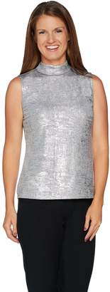 Halston H By H by Sleeveless Foil Printed Mock Neck Top